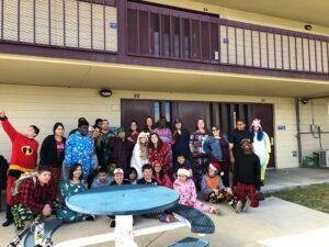 Chino Hills - CVUSD Alternative Education Center - student pajama party group photo outside