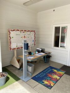 Rossier Park Elementary sanitization station outside