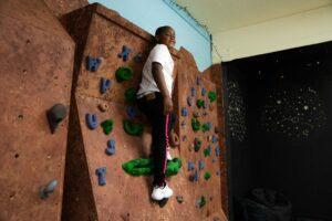 Student on climbing wall at Tara Hills Campus